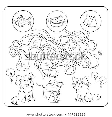 maze color book with dog and bone Stock photo © izakowski