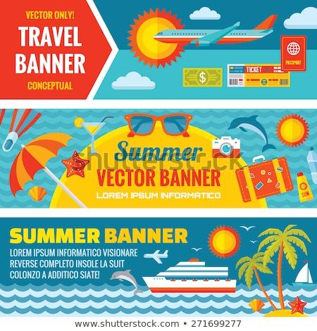 Paspoort vliegtuig tickets vector zomer reizen Stockfoto © pikepicture