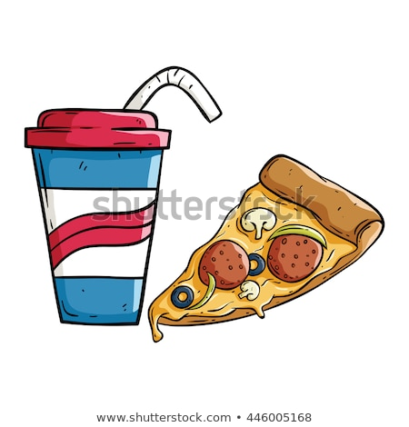 Frisdrank pizza slice tomaten worstjes kaas top Stockfoto © robuart