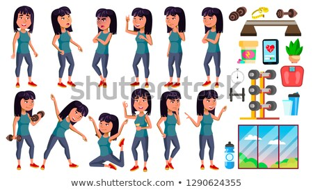 Asian Girl Poses Set Vector. High School Child. Fitness, Sport, Figure, Health. Active, Joy, Leisure Stock photo © pikepicture