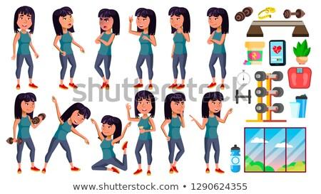 Asian meisje ingesteld vector middelbare school kind Stockfoto © pikepicture
