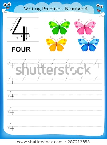 Number four tracing worksheets Stock photo © colematt