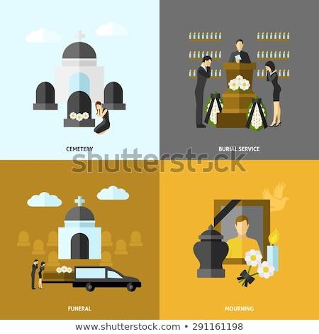 temetés · szolgáltatás · illusztráció · emberek · szomorú · digitális - stock fotó © netkov1