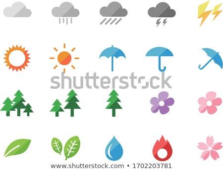 Zdjęcia stock: Różowy · niebieski · drzewo · ikona · wektora · sylwetki