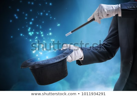 Mágico mão milagre cilindro luz preto Foto stock © ra2studio