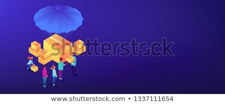 3D bannière tête bénévoles aide cases Photo stock © RAStudio
