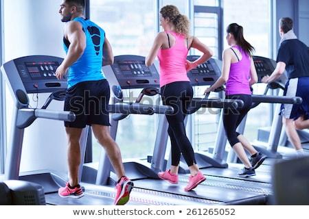 Gençler çalışma modern spor salonu grup adam Stok fotoğraf © boggy