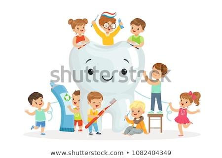 Stock photo: vector set of children brushing teeth