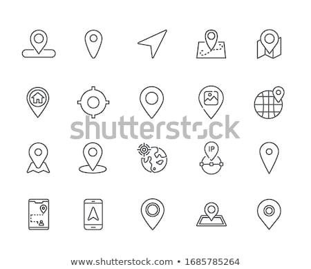 Geo Tag Related Vector Line Icon. Stock photo © smoki