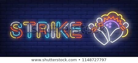 Color vintage bowling emblem Stock fotó © netkov1