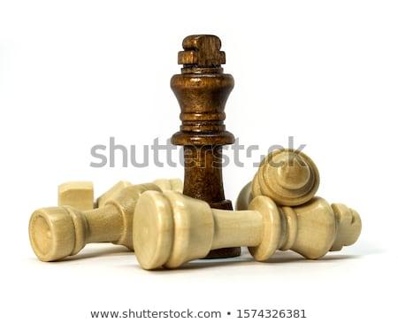 Rey del ajedrez blanco reina hombre madera Foto stock © bdspn