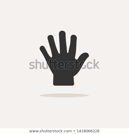 Body senses tact. Hand icon with shadow on beige background Stock photo © Imaagio