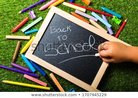 kolorowy · powrót · do · szkoły · zielone · Tablica · drewna - zdjęcia stock © lunamarina