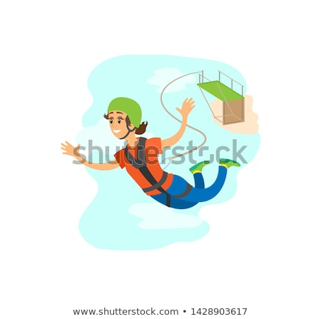 Woman Falling from Bridge, Bungee Jumping Vector Stock photo © robuart