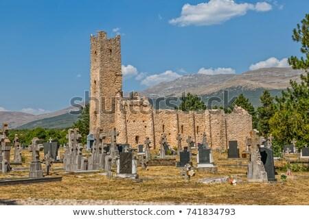 tökök · temető · templom · romok · felhők · boldog - stock fotó © xbrchx