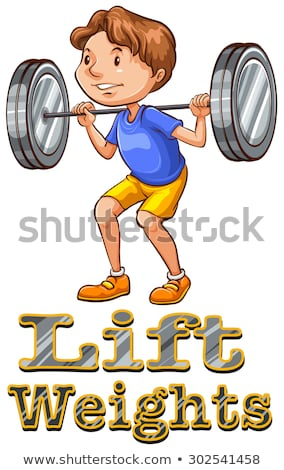 Stock fotó: Rajz · férfi · súlyemelő · illusztráció · erős · lift