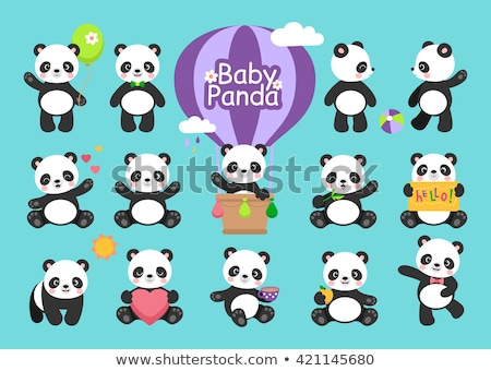 cute panda   flat design style set of characters stock photo © decorwithme