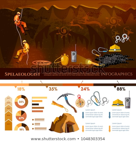 climbing and speleology extreme tourism vector stock photo © robuart