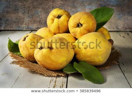 Сток-фото: айва · фрукты · деревянный · стол · вязанье · серый
