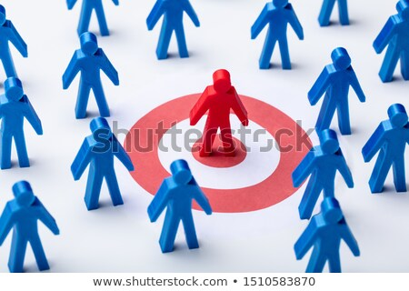 red blue human figure and darts target on white background stock photo © andreypopov