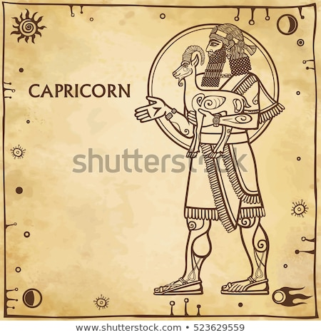 Brown Line Art of Capricorn Zodiac Sign on a Beige Background Stock photo © cidepix