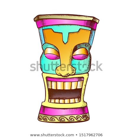 Tiki Idol Carved Wood Funny Totem Vintage Vector Stock photo © pikepicture