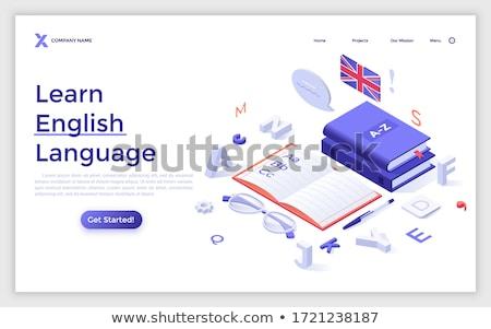 английский язык красочный вектора посадка страница Сток-фото © Decorwithme