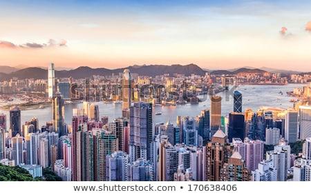 Hongkong sziluett kilátás csúcs égbolt iroda Stock fotó © galitskaya