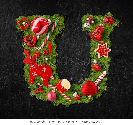 Letter U made of Christmas tree ornaments Stock photo © grafvision