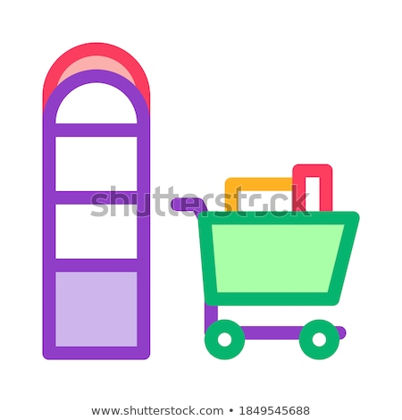 Food Cart near Counters Icon Vector Outline Illustration Stock photo © pikepicture