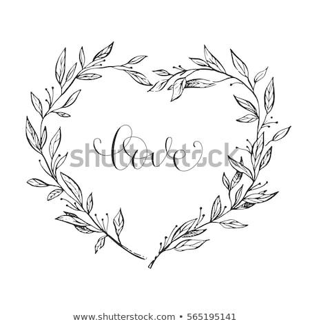 Modern, minimalist heart flowers, vector illustration Stock photo © beaubelle