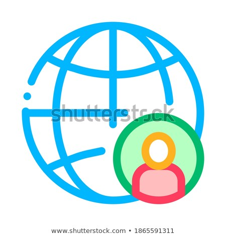 Planet Glob And Man Silhouette Job Hunting Vector Stock photo © pikepicture