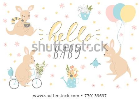 Card template with kangaroo Stock photo © bluering