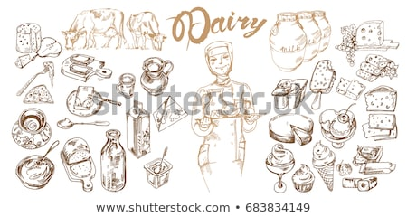 Set of Food Icons and Woman Eating Yogurt Dessert Stock photo © robuart