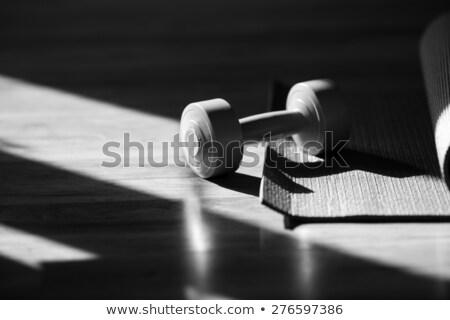 Trening siłowy wykonywania siłowni wagi podłóg drewnianych Zdjęcia stock © Maridav