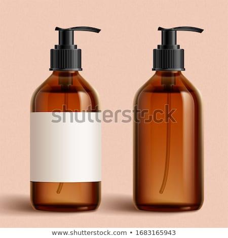 Etiket şampuan şişe duş jel pembe Stok fotoğraf © Anneleven