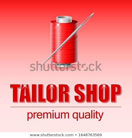 agulha · vermelho · fio · dois · botões · trabalhar - foto stock © mayboro