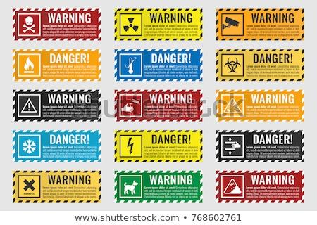 Stock fotó: Sugárzás · figyelmeztető · jel · fehér · kék · tudomány · ipari