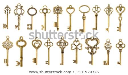öreg · sárgaréz · kulcs · izolált · fehér · díszes - stock fotó © cienpies