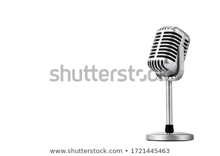 Stock fotó: Stúdió · izolált · mikrofon · zene · piros · színpad