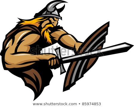 Viking Norseman Mascot Stabbing with Sword and Shield Vector Ima Stock photo © chromaco
