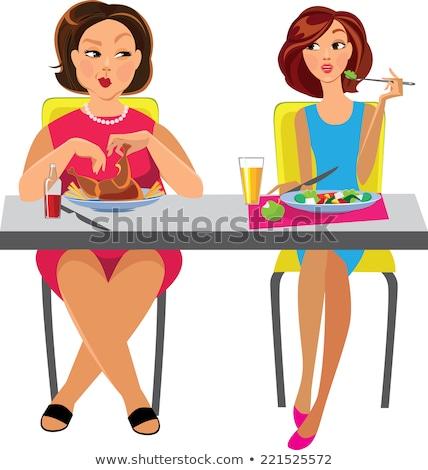 Dos hermosa esbelto ninas alimentación saludable alimentos Foto stock © HASLOO