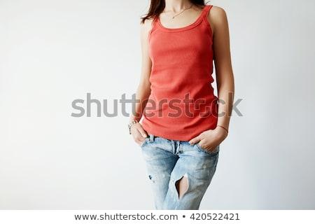 blond · femme · rouge · haut · posant · souriant - photo stock © jagston