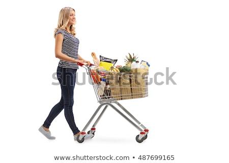 Nő bevásárlókocsi vásárlás kenyér gyümölcsök piac Stock fotó © photography33