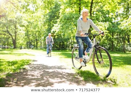 Reiten · Fahrräder · Silhouetten · glücklich · Paar · Dehnung - stock foto © photography33