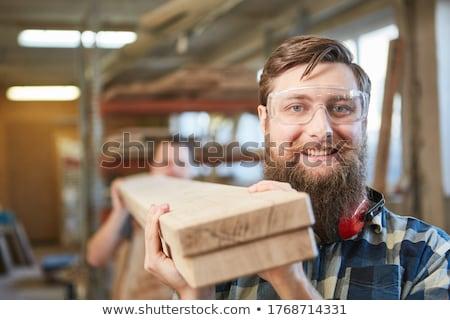 Stażysta stolarz kobieta budynku pracy młodych Zdjęcia stock © photography33