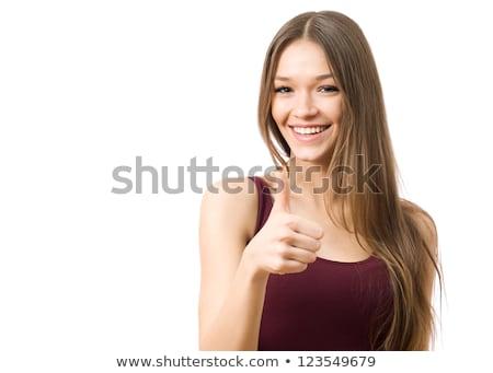 boldog · fiatal · félvér · nő · remek · fehér - stock fotó © feverpitch
