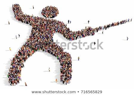 Vívás emberek szett vektor háttér képzés Stock fotó © tanais