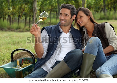 Couple taking a break from picking grapes Stock photo © photography33