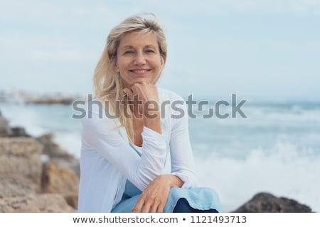 senior · senhora · relaxante · fora · primavera · dia - foto stock © Melpomene